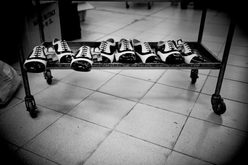 Schickes Schuhwerk auf Rädern.